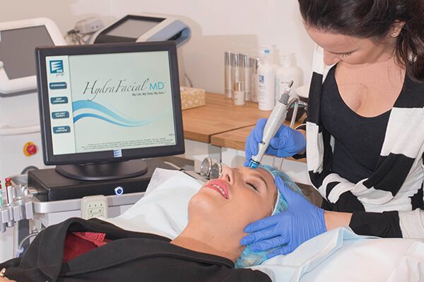 Sharon Marsh, one of the twins from TV's Married At First Sight hydrating her skin with the HydraFacial MD treatment at MIRA Clinic